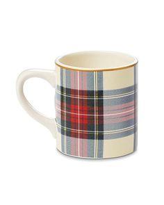 Tartan Mugs, Set of 4, White