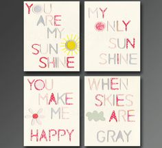 You are my sunshine Nursery Art Print Set 5x7 Kids by SugarInspire, $34.95