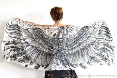 SILK Wings scarf bohemian bird feathers shawl white by Shovava