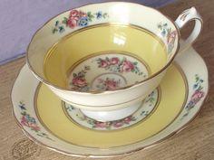 Antique 1920's Star Paragon china tea cup set, yellow tea cup and saucer, English tea cup, pink roses tea cup, yellow bone china tea cup on Etsy, $101.78