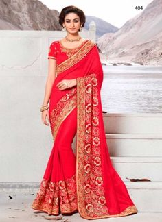 Latest Red Faux Georgette With Embroidery Border Work Saree http://www.angelnx.com/