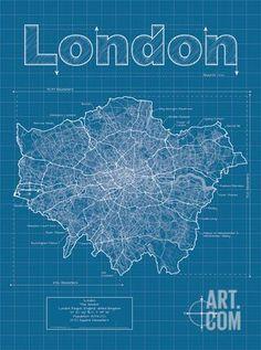 London Artistic Blueprint Map Art Print by Christopher Estes at Art.com