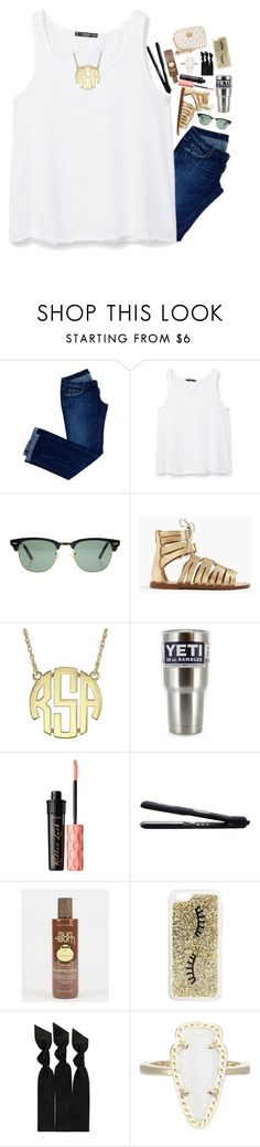 """Free slurpee day!!"" by lacrosse-19 ❤ liked on Polyvore featuring Dsquared2, MANGO, Ray-Ban, J.Crew, Benefit, Sun Bum, Miss Selfridge, Emi-Jay, Kendra Scott and Michael Kors"