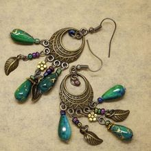 ER378 Ethinic Antique Bronze Bohemia Beaded Vintage Earrings For Women Lady 2015 New Jewelry Bijouterie(China (Mainland))
