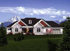 Like the outside not necessarily the floor plan. Elevation of Ranch   House Plan 73403