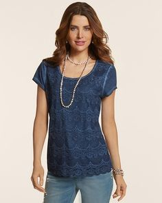Chico's Luella Lace Tee   Best substitute ever for the old T-shirt!  LOVE IT! Wear it regularly!