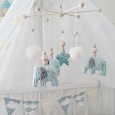 Crochet pattern elephant Whether as a mobile rattle or a small kiss . - Crochet pattern elephant Whether as a mobile rattle or a small cuddly toy, this shel - Baby Knitting Patterns, Crochet Elephant Pattern, Baby Patterns, Crochet Patterns, Mobiles En Crochet, Crochet Mobile, Origami Diy, Knit Baby Dress, Diy Bebe