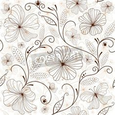 Seamless white floral pattern with brown flowers  mural