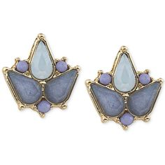 Carolee Gold-Tone Blue Bead Stud Earrings (120 BRL) ❤ liked on Polyvore featuring jewelry, earrings, accessories, blue, beaded earrings, bead jewellery, blue jewelry, stud earrings and beading jewelry