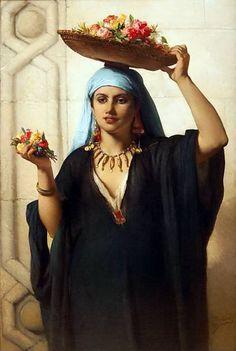 The Flower seller , Cairo 1870 Marchande de fleurs , Le Caire 1870 By Jean François Portaels - Belgian , 1818 - 1895 Oil on canvas...