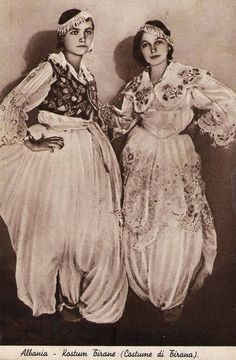Albanian women's traditional costumes.  Tirana, early 20th century.