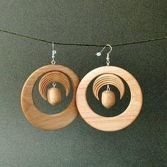 Boucles d'oreilles en bois tourne