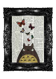 TOTORO 2 Upcycled Book Recycled Art Print Vintage Book Page Upcycled Dictionary Art print Vintage Book Print  Buy 3 get 4th free. $7.99, via Etsy.