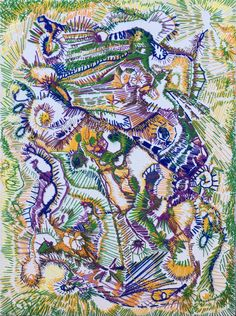 """""""Liberated Menagerie"""" 12"""" x 18"""" Embroidery on stretched canvas  #embroidery #textileart #fiberarts #texture #stitching #abstract"""