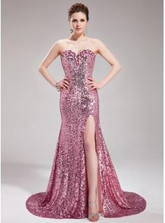 Trumpet/Mermaid Sweetheart Court Train Sequined Prom Dress With Beading Split Front (018019681)