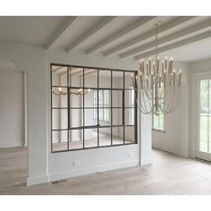 Large Antique American Industrial Metal Casement Window, more available. Please note - these are only metal window frames without glass. Interior Windows, Interior Walls, Interior Design, Interior French Doors, Interior Ideas, Living Room Kitchen, Living Room Decor, Dining Room, Living Area