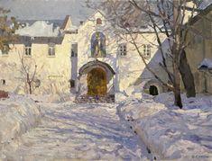 Monastery Court, oil on canvas; Painting Snow, Winter Painting, Winter Art, City Landscape, Winter Landscape, Landscape Paintings, Russian Painting, Russian Art, Yuri