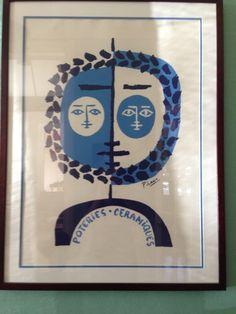 """1955 Vintage Color Art Plate /""""CELESTINE/"""" BLUE PABLO PICASSO offset Lithograph"""