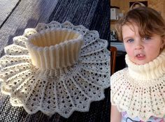 Yarn: This is made of an acrylic yarn Hook: Note! Crochet very loose to get a soft and fluffy collar. This is written with English crochet terminology. sl st s… Bobble Stitch Crochet, Crochet Chain, Crochet Collar, Knit Or Crochet, Crochet Gifts, Crochet Scarves, Crochet For Kids, Crochet Clothes, Crochet Baby