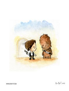 Han Solo and Chewbacca Watercolor by BenByrdArtwork on Etsy https://www.etsy.com/listing/171359762/han-solo-and-chewbacca-watercolor