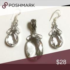"""Natural White Topaz Pendant / Earrings set White Topaz 2"""" Pendant / Earrings Set . 925 Sterling Silver. Jewelry"""