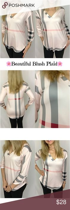 """Beautiful Blush Plaid V-Neck Tunic Top MLXL In love with this beautiful blush plaid v-neck tunic top with 3/4 tab sleeves. Butter soft & stretchy polyester. Gray, black & pink plaid pattern with a pale blush background...doesn't get much prettier  Medium Bust 34-36"""" Length 26.5"""" Large Bust 36-38"""" Length 27"""" XL Bust 38-40"""" Length 27.5"""" Tops"""