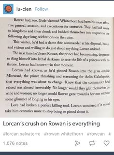 """Lorcan was so sad that he lost his warrior buddy. Then he met Elide and went...""""I get it Whitethorn...I get it"""""""