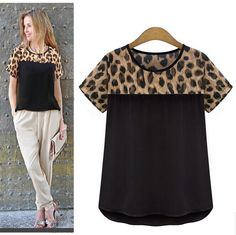 Click to Buy    Alishebuy 2015 Summer Style Women Clothing Leopard Chiffon  Blouse 50c3f5a3afb