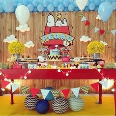 Snoopy Party Altar Ideas Peanuts Duma Baby Showers Fiestas Thirty One