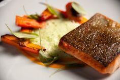 At Restaurant Sinclair - pan seared Nova Scotia trout, carrot-honey purée, lettuce cream & sorrel! #food #RestaurantSinclair Sinclair, Old Montreal, Restaurants, Nova, Ethnic Recipes, Restaurant