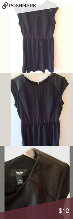"""Mossimo Black Dress Women's Mossimo Black Faux Leather Patch Shift Dress  Lined Short cap sleeve   Above knee length Pre-owned in great condition Women's Size M. Measures 19"""" across chest arm pit to arm pit laying flat.  Length is 38"""" from top of shoulder to bottom hem. Mossimo Supply Co. Dresses"""