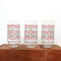vintage set of 3 southwestern ikat print glasses. $26.00, via Etsy.