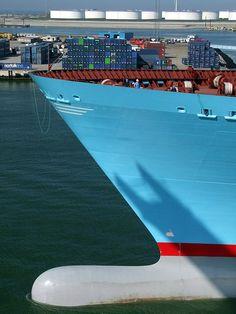 World biggest container vessel 'Emma Maersk' during her visit to Rotterdam, Nethelands