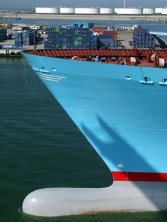 World biggest container vessel 'Emma Maersk' during her visit to Rotterdam, Nethelands