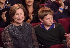 Touching and humble end: The 68-year-old Late Show host spoke  directly to wife Regina and son Harry who were in the audience, when he said: 'Thank you for being my family, and really, nothing else matters, does it.""