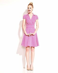 Betsey Johnson PRETTY IN PINK STRIPED DRESS PINK