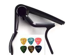 Amazon.com: Guitar Picks Guitar Capo Quick Change Acoustic Guitar Accessories Trigger Capo Key Clamp Black With Free 6 Pcs Guitar Picks: Musical Instruments