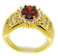 Garnet Red 14k Yellow Gold Solitaire with accents Ring Size 8 Bling USA #silvestromedia #SolitairewithAccents