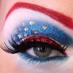 Female Captain America makeup - also great for 4th of July!