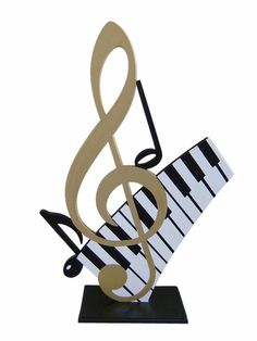 Jumbo Musical Notes Handcrafted Wooden Table Sculpture - Dance & Music Sculptures