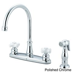 This Brentwood Series kitchen faucet features a traditional style with two white porcelain cross handles and a handy sidesprayer. This faucet comes in either a polished chrome or a brushed nickel finish to complement any kitchen decor.
