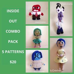 INSIDE OUT Crochet Patterns Combo Pack by Elisascrochet on Etsy