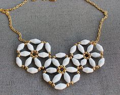 Flower paper bead necklace