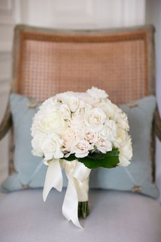 all white bridal bouquet, rose textured brides bouquet from romantic all white wedding at DC Mellon Auditorium Wedding Flower Decorations, Flower Bouquet Wedding, White Roses Wedding, White Bridal, White Rose Flower, Country Style Wedding, Washington Dc Wedding, Dc Weddings, Mod Wedding