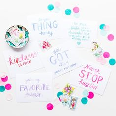 Fridays are for throwing confetti and sending love notes to your favorite people! I love how much one encouraging note can make someone's day and that's why I created this set of #spreadjoyandhappymail postcards! They're a quick and colorful way to let someone know you're thinking about them. Each one has one of my favorite encouraging sayings watercolored on them and they're available in the shop so you can send happy mail too! Who is your favorite person to send snail mail to?…