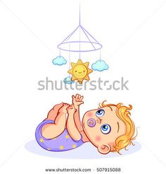 Baby boy with a pacifier in mouth, lying on back and grabbed hands feet, reaches for a mobile toy. The first toy newborn with smiling sun and clouds, vector cutout illustration. Baby Girl Portraits, Baby Shower Clipart, Human Pictures, Sun And Clouds, Cupcake Art, Human Babies, Baby Drawing, Cute Love Cartoons, En Stock