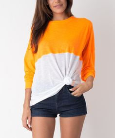 Another great find on #zulily! Neon Orange Two-Tone Long-Sleeve Tee #zulilyfinds