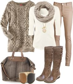 When wearing beige jeans, try to stick with neutral and light colors (brown, beige, camo, camel, caramel, baby pink, etc). Woolen sweaters compliment the style.