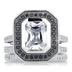 Sterling Silver Cubic Zirconia Wedding Ring Set with Black Halo (Size 3), Women's, White