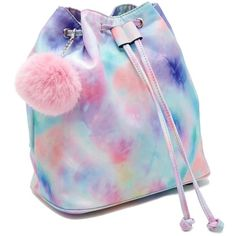 A structured satin backpack featuring a rainbow tie-dye design, a detachable pom pom chain, a drawstring and magnetic snap closure, two interior slip pockets, and adjustable buckle straps. Diy Tie Dye Backpack, Backpack Purse, Drawstring Backpack, Colourful Wallpaper Iphone, Tie Dye Backpacks, Starbucks Wallpaper, Tie Dye Bags, Shibori Tie Dye, Forever 21 Bags